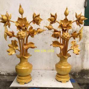 Bình sen thờ gỗ mít-2