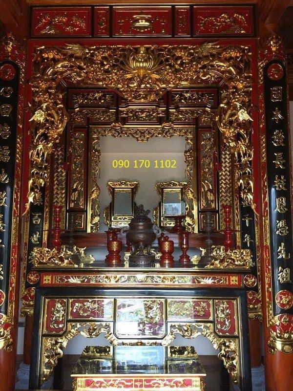 Cửa võng thờ gia tiên sơn son thếp vàng