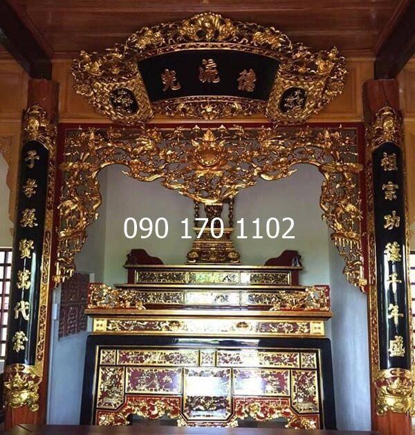 Cuốn thư câu đối gỗ dổi trang trí ban thờ gia tiên, dòng họ, đình chùa-1