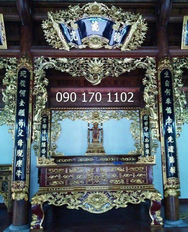 Cuốn thư câu đối gỗ dổi trang trí ban thờ gia tiên, dòng họ, đình chùa-2