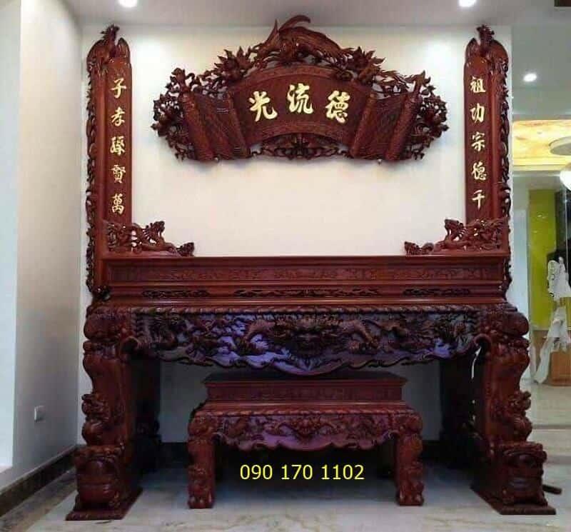 Mẫu sập thờ tứ linh gỗ gụ chân nghê kèm ghế đôn