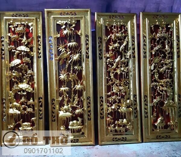 Tranh thờ tứ quý Tùng, Cúc, Trúc, Mai bằng gỗ-1