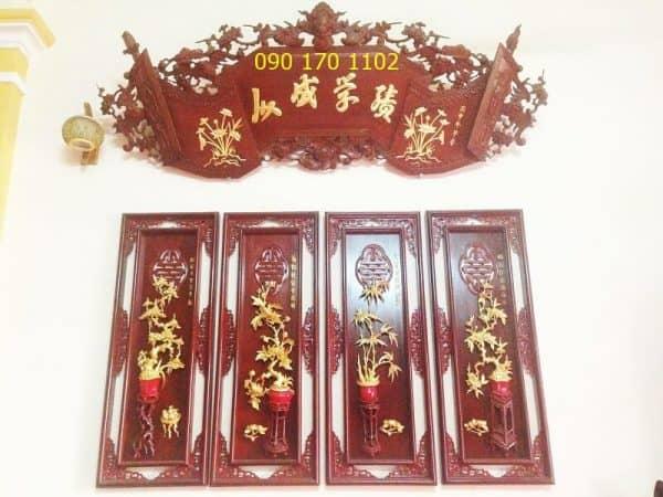 Tranh thờ tứ quý Tùng, Cúc, Trúc, Mai bằng gỗ