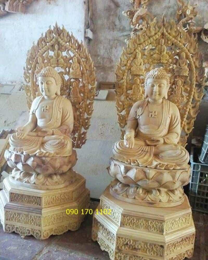 Tượng Phật Dược Sư bằng gỗ mít đẹp