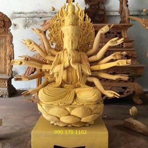Tượng Phật Bà ngồi đài sen bằng gỗ mít