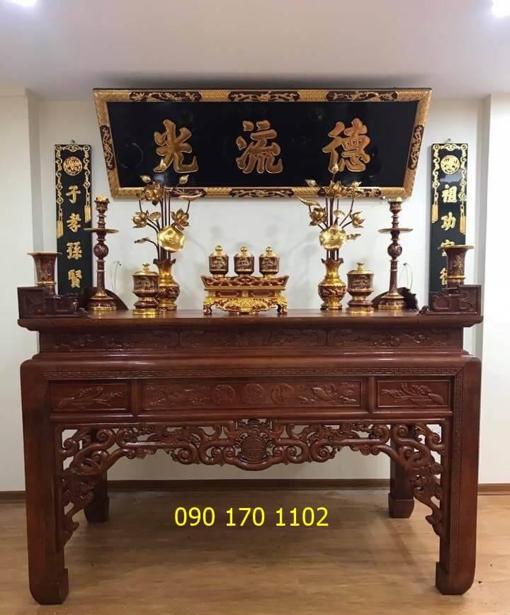 Hoành phi câu đối gỗ đẹp thờ gia tiên, nhà thờ họ, đền chùa