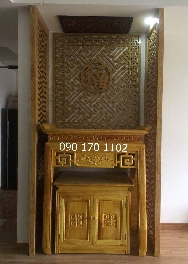 Bàn thờ chung cư chạm hoa sen gỗ mít kèm tủ