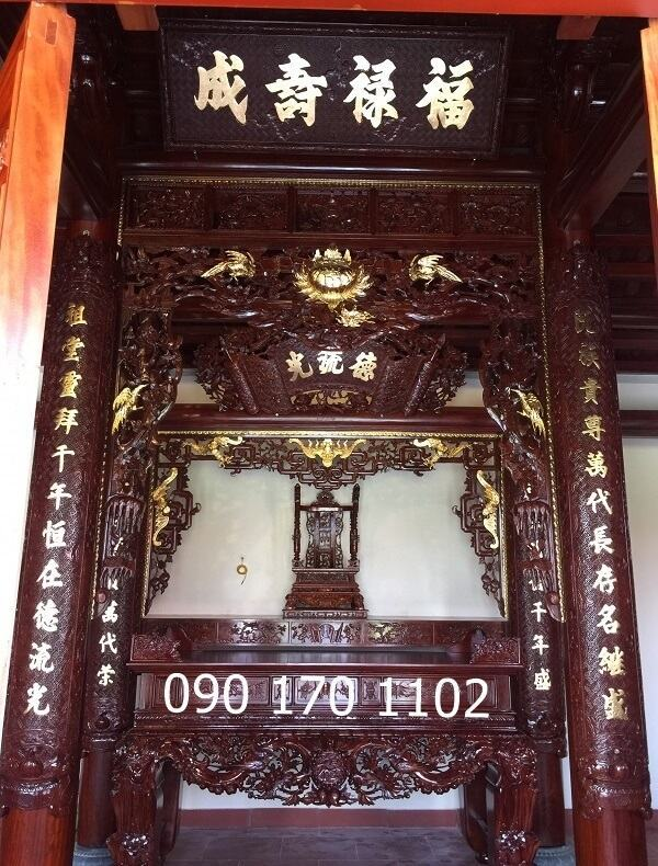 Cửa võng thờ gỗ gụ thếp vàng