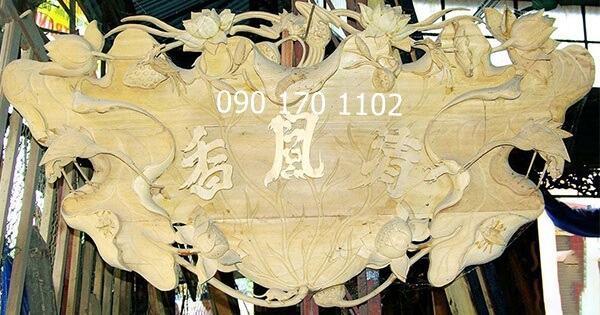 Cuốn thư lá sen gỗ mít, gỗ dổi sơn Pu thếp vàng-1