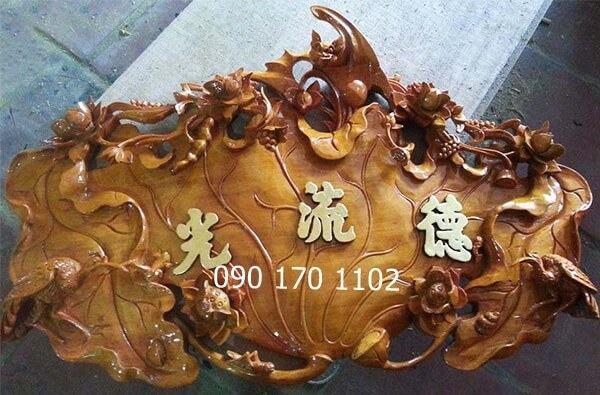 Cuốn thư lá sen gỗ mít, gỗ dổi sơn Pu thếp vàng-2