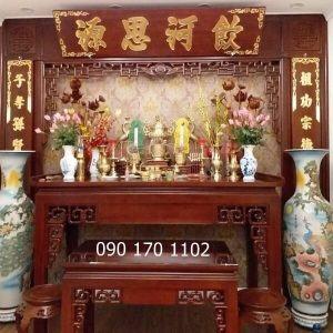 Mẫu bàn thờ kèm ghế đôn sơn PU
