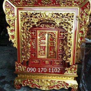 Mẫu khám thờ gia tiên gỗ mít, gỗ dổi, vàng tâm