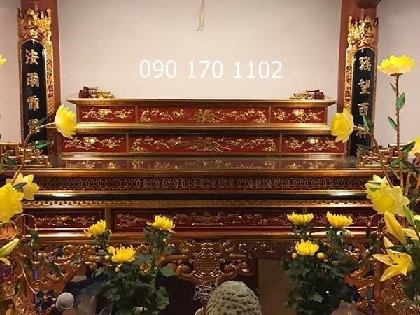 Mẫu sập thờ tam cấp đẹp sơn son thếp vàng