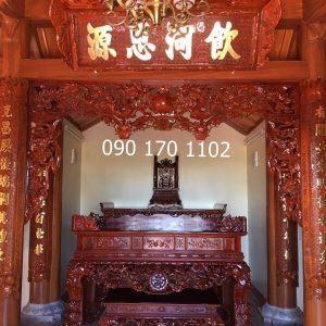 Sập thờ nhị cấp gỗ gụ kèm ghế đôn