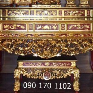 Sập thờ nhị cấp kèm ghế đôn sơn son thếp vàng
