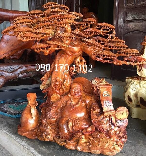 Tượng Phật Di Lặc Thần Tài bằng gỗ hương-1