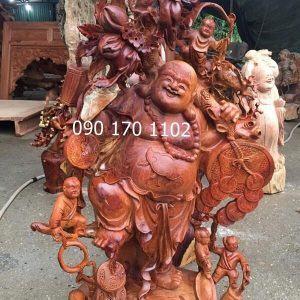 Tượng Phật Di Lặc Thần Tài bằng gỗ hương-2