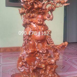 Tượng Phật Di Lặc Thần Tài bằng gỗ hương-3