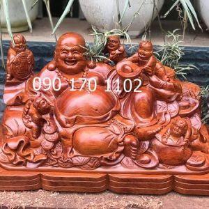 Tượng Phật Di Lặc Thần Tài bằng gỗ hương