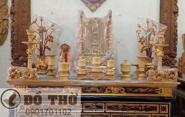 Bộ đồ thờ cúng bằng gỗ mít-1
