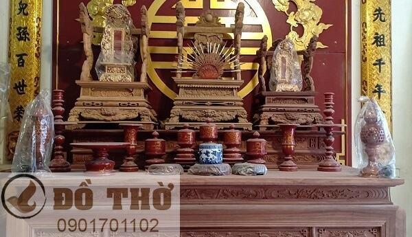 Bộ đồ thờ cúng bằng gỗ mít, gỗ dổi, gỗ gụ-2
