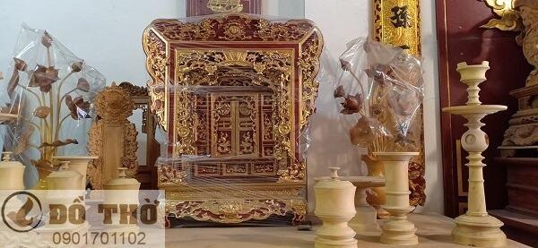 Bộ đồ thờ cúng bằng gỗ mít, gỗ dổi, gỗ gụ