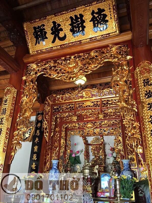 Cửa võng thờ gia tiên thếp vàng đẹp