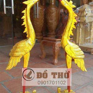 Đôi hạc gỗ mít thếp vàng cao 80cm