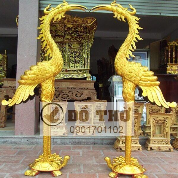 Đôi hạc thờ gỗ mít cao 1m7 thếp vàng