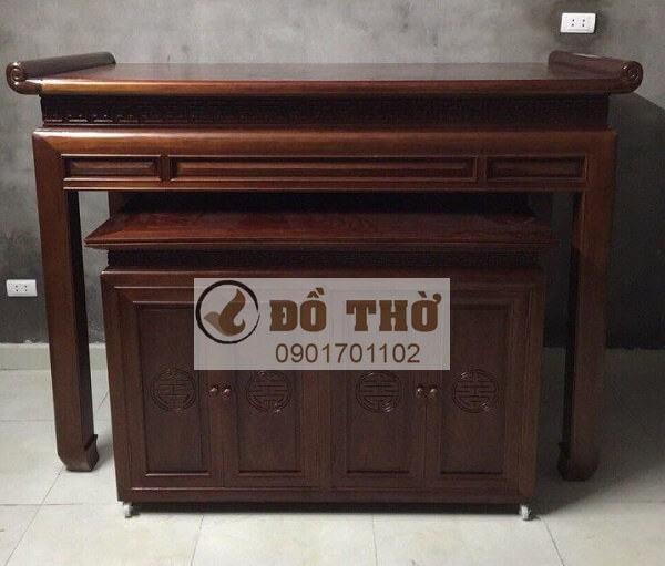 Mẫu bàn thờ chung cư kèm tủ gỗ mít, gỗ gụ