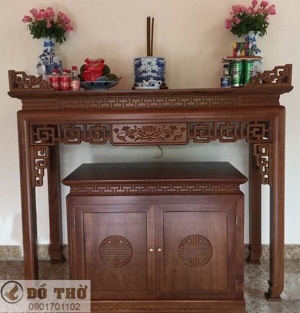 Những mẫu bàn thờ đẹp đơn giản bằng gỗ gụ-2