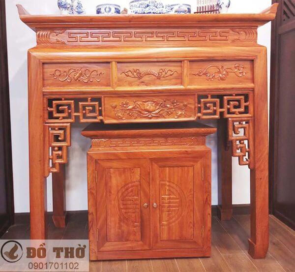 Những mẫu bàn thờ đẹp đơn giản bằng gỗ gụ