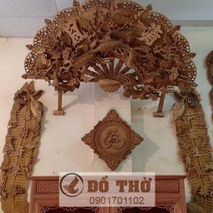 Quạt thờ câu đối lá chuối gỗ gụ