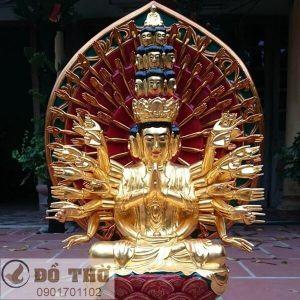 Tượng Phật bà Quan Âm nghìn mắt nghìn tay thếp vàng