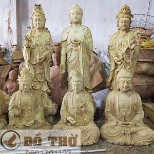 Tượng Tam Thánh Phật đẹp bằng gỗ mít-1