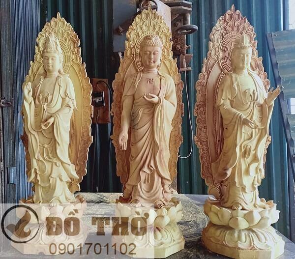 Tượng Tam Thánh Phật đẹp bằng gỗ mít