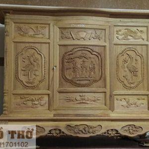Tủ thờ gỗ mít chạm Rồng Hạc