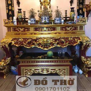 Sập thờ gỗ đầu Rồng chân nghê sơn son thếp vàng đẹp