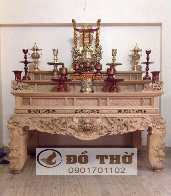 Sập thờ Tứ Linh tam cấp bằng gỗ