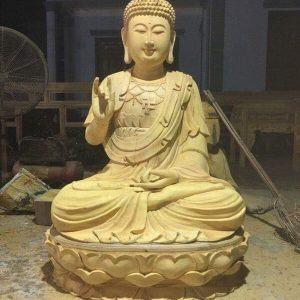 Tượng Phật A Di Đà ngồi đài sen gỗ mít