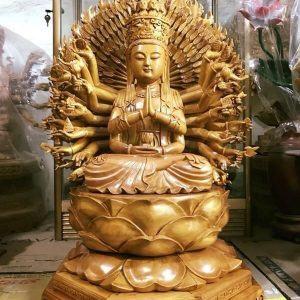 Tượng Phật bà Quan Âm nghìn mắt nghìn tay sơn vecni đẹp