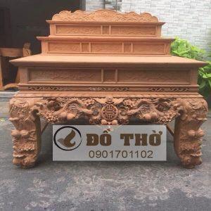 Sập thờ tam cấp chạm Mai Điểu, chữ Thọ