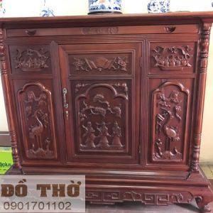 Tủ thờ gỗ mít, gỗ dổi, gỗ gụ chạm Rồng Hạc-1
