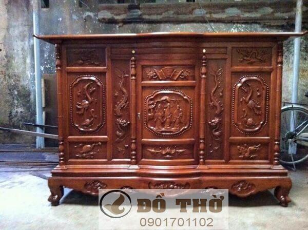 Tủ thờ gỗ mít, gỗ dổi, gỗ gụ chạm Rồng Hạc