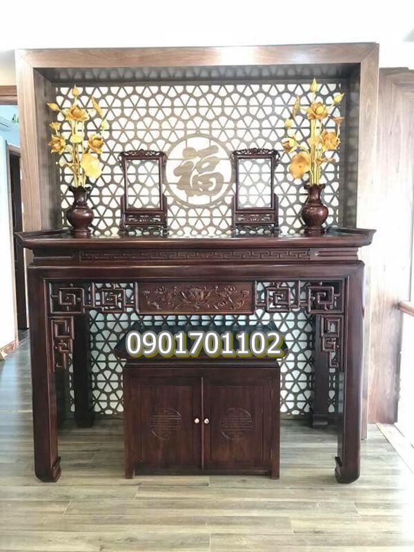 Án gian gỗ gụ triện hoa sen sơn PU kèm tủ