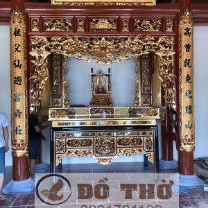 Gian thờ nhà 4 cột sơn son