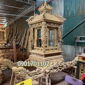 Kiệu Long Đình gỗ vàng tâm hàng nét đục thủ công