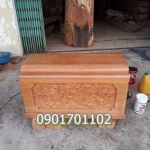 Quách gỗ vàng tâm chạm khắc tinh xảo-2