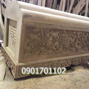 Quách gỗ vàng tâm chạm khắc tinh xảo-3