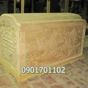 Quách gỗ vàng tâm chạm khắc tinh xảo-5